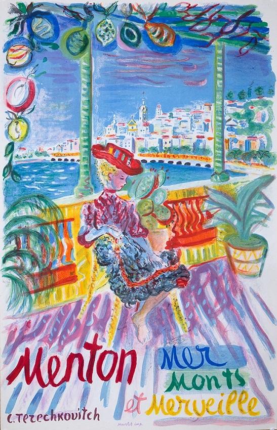 vintage poster, Menton-Mer-Monts-Merveille by Constantin Terechkovitch